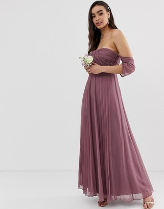 ASOS DESIGN Bridesmaid bardot ruched pleated maxi dress