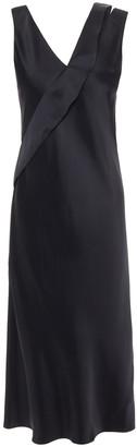 Helmut Lang Ruffle-trimmed Satin Slip Dress