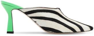 Wandler 75mm Lotte Zebra Print Ponyskin Mules