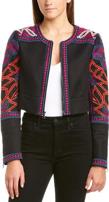 BCBGMAXAZRIA Embroidered Crop Jacket