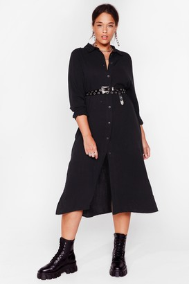 Nasty Gal Womens You're So Shirty Plus Midi Dress - Black - 16, Black