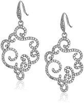 "Carolee Floral Lace"" Silver Tone Open Floral Pierced Drop Earrings"