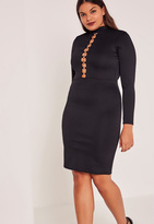 Missguided Black Plus Size Chain Detail High Neck Midi Dress