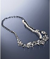 gunmetal crystal cluster chain necklace