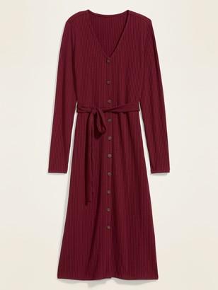 Old Navy Waist-Defined Rib-Knit Tie-Belt Midi Dress for Women