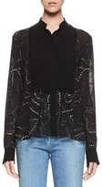 Chloé Embroidered Pintucked-Bib Blouse, Black