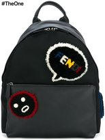 Fendi Faces backpack - men - Leather/Sheep Skin/Shearling/Polyamide - One Size