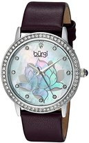 Burgi Women's Swarovski Crystal Accented Silver-Tone Bezel and Flower Design Mother-of-Pearl Dial on Purple Genuine Leather Strap Watch BUR159PU
