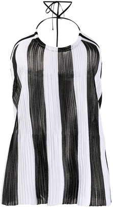 Balmain Knitted Striped Halter Neck Top