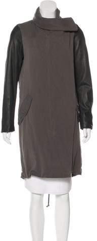 AllSaints Leather-Paneled Long Coat