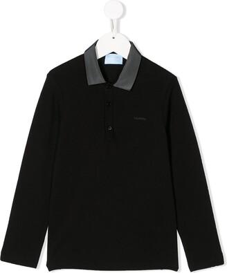 Lanvin Enfant Embroidered Logo Long-Sleeved Polo Shirt