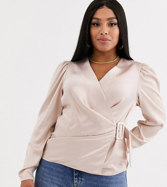 ASOS DESIGN Curve long sleeve wrap top in satin