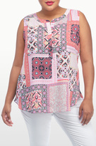 NYDJ Arabesque Patchwork Print Sleeveless Blouse In Plus