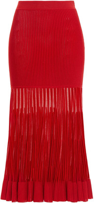 Alexander McQueen Fluted Burnout-effect Ribbed-knit Midi Skirt