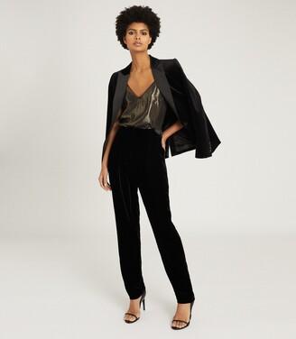 Reiss Poppy - Velvet Tailored Trousers in Black
