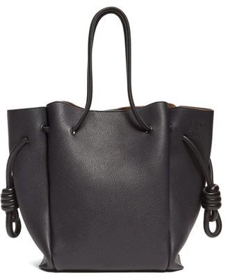 Loewe Flamenco Small Grained-leather Tote Bag - Womens - Dark Blue