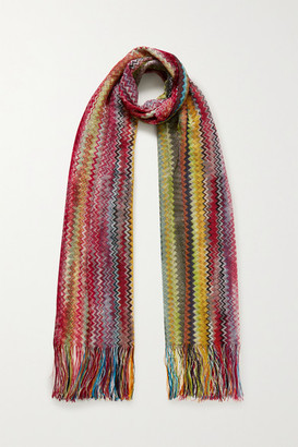 Missoni Fringed Crochet-knit Scarf - Red