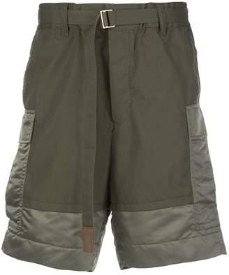 Sacai panelled belted cargo shorts