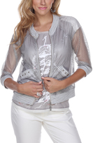 Silver Bomber Jacket - Plus Too
