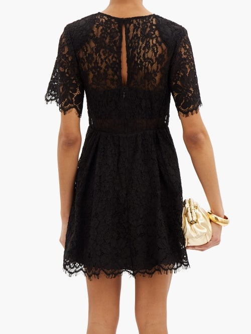 Thumbnail for your product : Self-Portrait Gathered Cotton-blend Corded-lace Mini Dress - Black