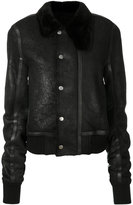 Rick Owens fur trim collar leather jacket - men - Cotton/Calf Leather/Lamb Skin/Lamb Fur - 48