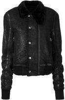 Rick Owens fur trim collar leather jacket