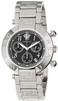 Versace Women's Q5C99D009 S099 New Reve Round Stainless Steel Black Dial Chronograph Date Watch