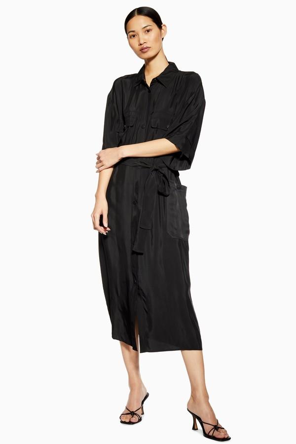 Topshop Womens **Utility Shirt Dress By Boutique - Black