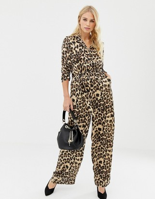 Liquorish leopard print wide leg jumpsuit-Brown