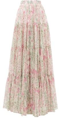Giambattista Valli Tiered Floral-print Silk Maxi Skirt - Ivory Multi