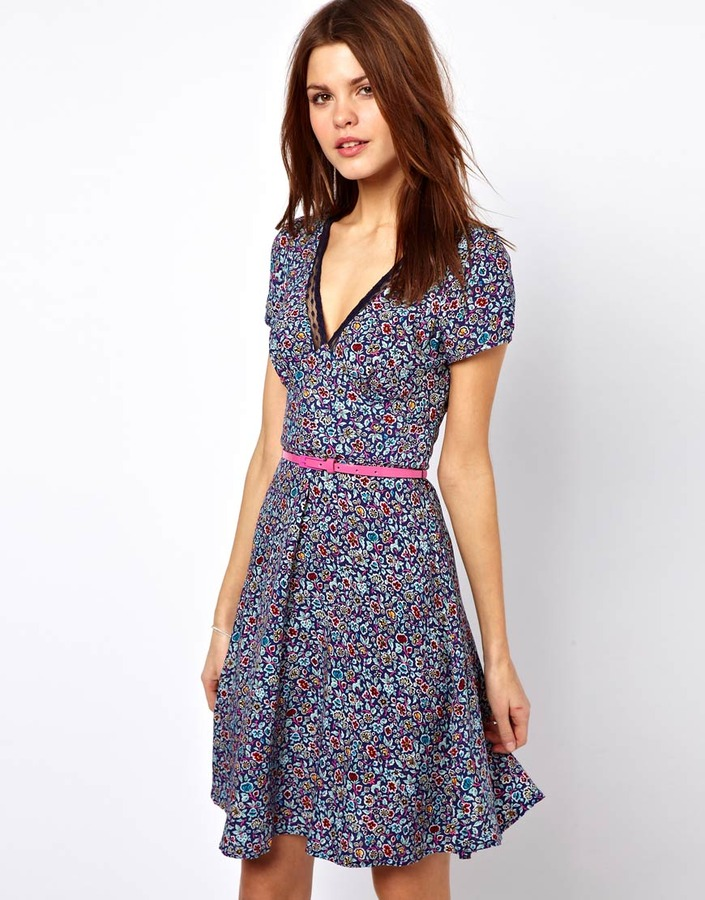 Warehouse Bright Floral Tea Dress
