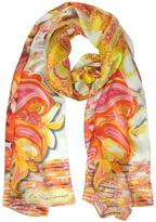 Mila Schon Flowers and Paisley Print Silk Stole