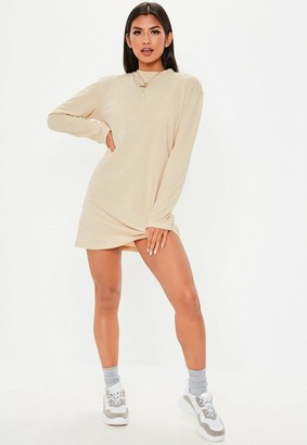 Missguided Nude Basic Long Sleeve T Shirt Dress