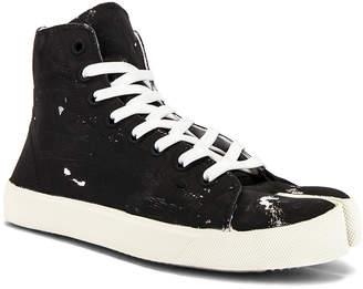 Maison Margiela Vandal Tabi Hi Top Sneaker in Black & Silver   FWRD
