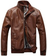 LOVEBEAUTY Men's Stand Collar Faux Leather Jacket 3XL