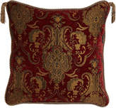 """Horchow Austin Horn Classics Scarlet Reversible Pillow with Two Beaded Tassels, 20""""Sq."""
