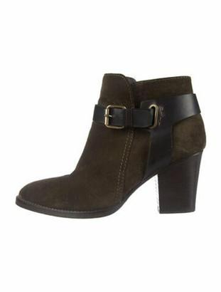 Aquatalia Suede Leather Trim Embellishment Boots Brown