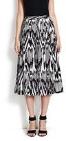Lands' End Women's Pleated Skirt-Ink Black Print