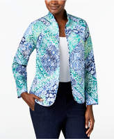 Alfred Dunner Montego Bay Printed Reversible Quilted Jacket
