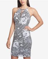 GUESS Printed Lace-Up Sheath Dress