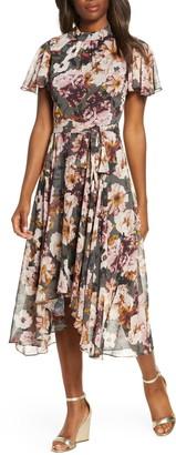 Eliza J Floral Mock Neck Chiffon Midi Dress