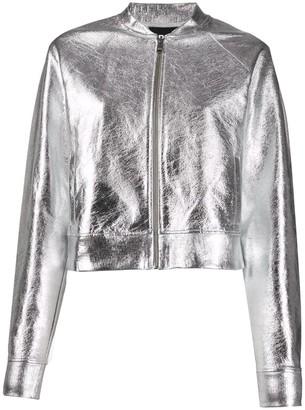 Karl Lagerfeld Paris Foil-Effect Bomber Jacket