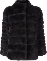 N.Peal 'Rex' ribbed jacket - women - Rabbit Fur/Polyamide - S