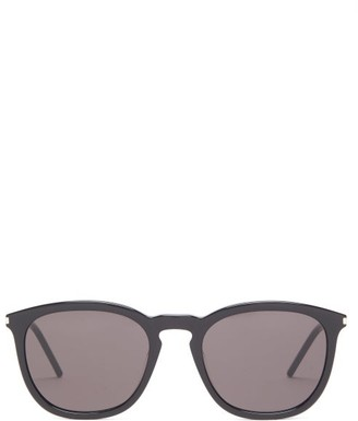 Saint Laurent Round Acetate Sunglasses - Womens - Black Silver