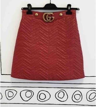Gucci Red Leather Skirt for Women