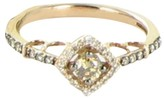 LeVian Le Vian Chocolatier Square Halo 14K Rose Gold Chocolate and White Diamond Ring Size 7