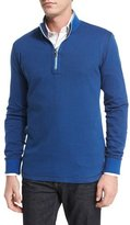 Robert Graham Alastor Mini-Chevron Half-Zip Sweater, Navy