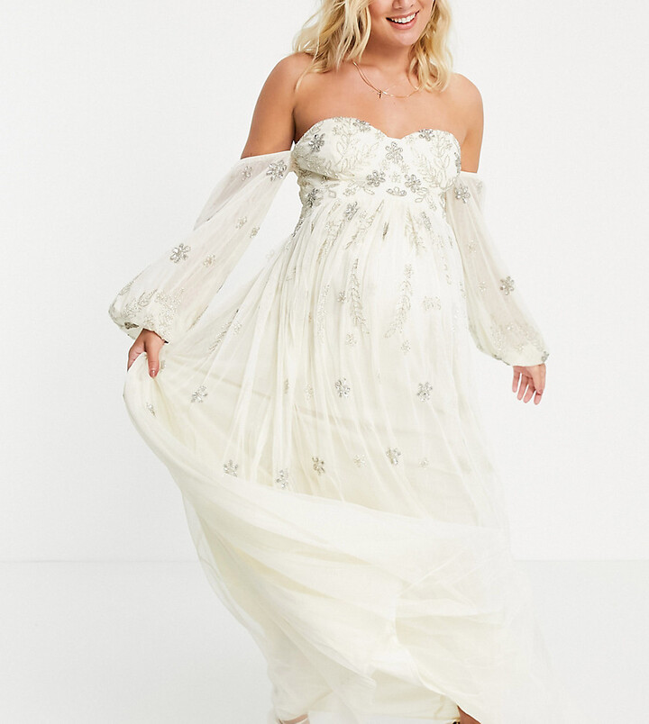Maya Maternity bardot long sleeve tulle maxi dress with floral sequin in ecru