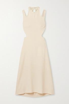 Dion Lee Tie-back Cutout Crepe Midi Dress - Cream