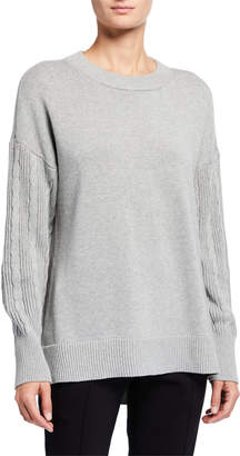 MICHAEL Michael Kors Crewneck Cable Sleeve Cotton Sweater
